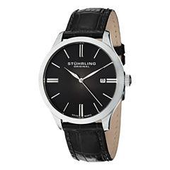 Stuhrling Mens Black Strap Watch-Sp12460