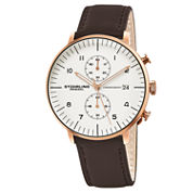 Stuhrling Mens Brown Strap Watch-Sp16058