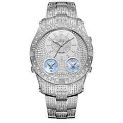 JBW Jet Setter III Stainless Steel 1.50 C.T.W Diamond Accent Mens Silver Tone Bracelet Watch-J6348b
