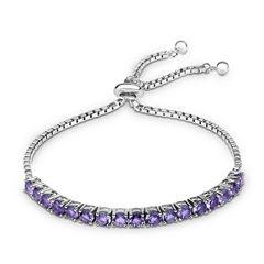 Womens Purple Amethyst Sterling Silver Bolo Bracelet