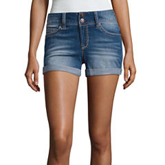 Wallflower Belted Denim Shorts-Juniors