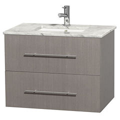 Centra 30 inch Single Bathroom Vanity; White Carrera Marble Countertop; Undermount Square Sink; andNo Mirror