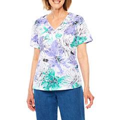 Alfred Dunner Short Sleeve V Neck T-Shirt