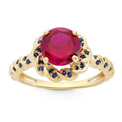 Lab Created Ruby & Lab Created Blue Sapphire 14K Gold Over Silver Ring