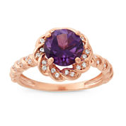 Genuine Amethyst & Lab-Created White Sapphire 14K Gold Over Silver Ring