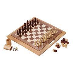 Mainstreet Classics 3In1 Wood Game Chess CheckersBackgammon