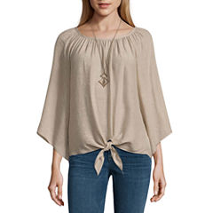 Alyx Long Sleeve Round Neck Gauze Blouse