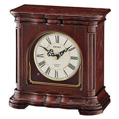 Seiko® Brown Wooden Musical Desk/table Clock Qxw243blh