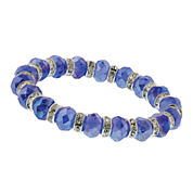 1928® Jewelry Silver-Tone Blue Crystal Beaded Stretch Bracelet