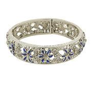 1928® Jewelry Silver-Tone Blue Enamel Flower Stretch Bracelet