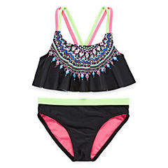 Angel Beach Girls Pattern Bikini Set - Big Kid