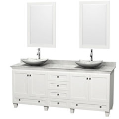 Acclaim 80 inch Double Bathroom Vanity with WhiteCarrera Marble Countertop and Arista White CarreraMarble Sinks