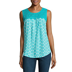 St. John's Bay Sleeveless Crew Neck Woven Blouse-Petites