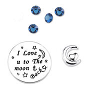 Footnotes Too® Additional Blue Crystal I Love You to the Moon Charm Set