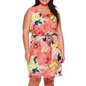 Robbie Bee® Cap-Sleeve Belted Floral Chiffon Blouson Dress - Plus