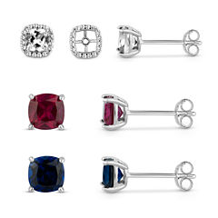 Lab-Created White Sapphire Sterling Silver Earrings Jacket With Lab-Created White Sapphire, Blue Sapphire and Ruby Sterling Silver 4-Piece Earrings Set