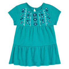 Arizona Crew Neck Short Sleeve Blouse - Toddler Girls