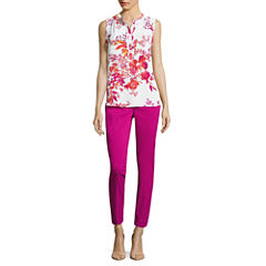Worthington Sleeveless Ruffle Y Neck Blosue and Slim Fit Ankle Pant