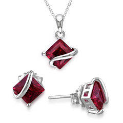 Lab-Created Ruby Sterling Silver Earrings & Pendant Necklace 2-Piece Set