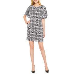 Worthington Short Sleeve Geometric Shift Dress