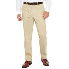 Men's JF Stretch Cotton Khaki Flat-Front Straight-Leg Slim-Fit Pants