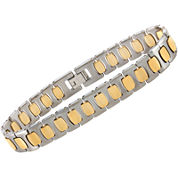 Mens Two-Tone Tungsten Link Bracelet