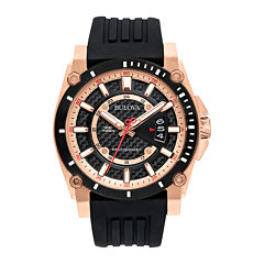 Bulova® Precisionist Mens Black Silicone Strap Watch 98B152