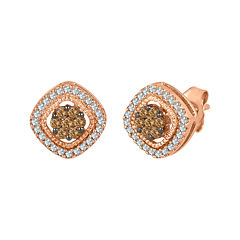 1/2 CT. T.W. White and Champagne Diamond 10K Rose Gold Cluster Earrings