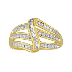 3/8 CT. T.W. Diamond 10K Yellow Gold Bypass Ring