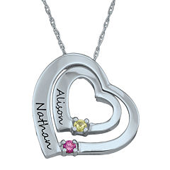 Personalized Simulated Birthstone Engraved Double Heart Pendant Necklace