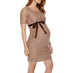 Maternity Elbow-Sleeve Lace Dress with Bow Belt