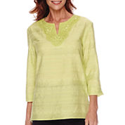 Alfred Dunner® Sao Paolo 3/4-Sleeve Textured Tunic