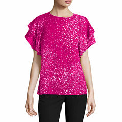 Worthington Short Sleeve Crew Neck Woven Blouse-Talls