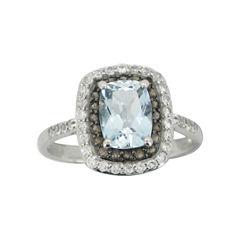 Aquamarine, Smoky Quartz & White Sapphire Ring