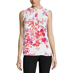 Worthington Sleeveless Y Neck Georgette Blouse