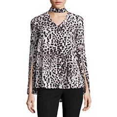 Worthington Long Sleeve Mock Neck Georgette Blouse