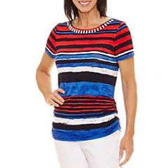 Lark Lane Short Sleeve Boat Neck T-Shirt-Womens