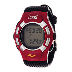 Everlast® Mens Heart Rate Monitor Red Bezel Black Silicone Strap Watch