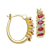 Classic Treasures™ Diamond-Accent & Lab-Created Ruby Brass 18mm Hoop Earrings