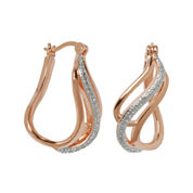 Classic Treasures™ Diamond Accent Rose-Tone 3-Row Hoop Earrings