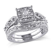 1/5 CT. T.W. Diamond Sterling Silver Vintage Style Bridal Set