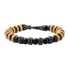 Inox® Jewelry Mens Agate Bead, Stainless Steel Bracelet