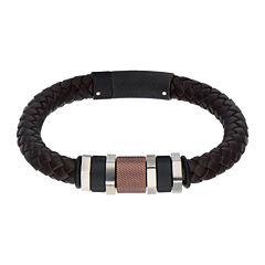 Inox® Jewelry Mens Stainless Steel Black IP & Brown IP Bead Leather Bracelet