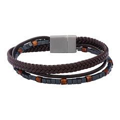 Inox® Jewelry Mens Hematite Bead & Brown Leather Stainless Steel Bracelet