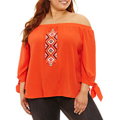 Heart N Soul 3/4 Sleeve Crepe Blouse-Juniors Plus