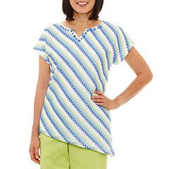 Alfred Dunner Corsica Short Sleeve V Neck T-Shirt