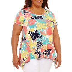 Lark Lane 0817 Must Haves Short Sleeve Scoop Neck T-Shirt-Womens Plus