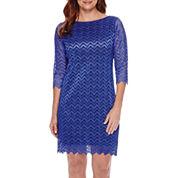 Tiana B. 3/4-Sleeve Chevron Lace Sheath Dress - Petite