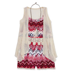 Knit Works Romper with Crochet Duster and Necklace - Girls' 7-16