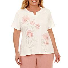 Alfred Dunner Botanical Garden Short Sleeve Split Crew Neck T-Shirt-Womens Plus